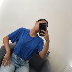 Blue adidas drawstring crop tee